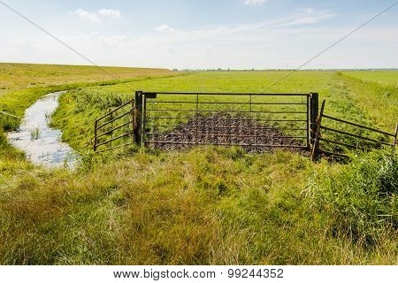 Old Rusty Gate In Front Of A Meadow