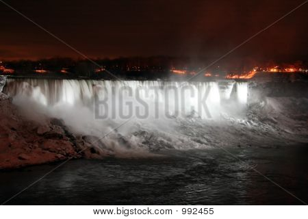 Niagara Falls At Night With White Lights