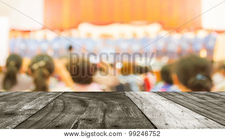 Parent Looking At Kids On School Stage.