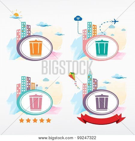 Vector Trash Can Icon On City Background.