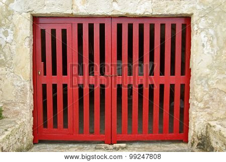 Old Red Wooden Door