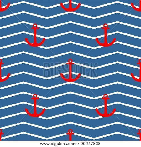 Tile sailor vector pattern with red anchor on white and blue stripes background