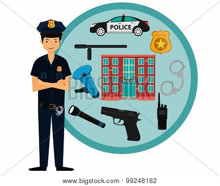 Male policeman and police icons. Vector illustration