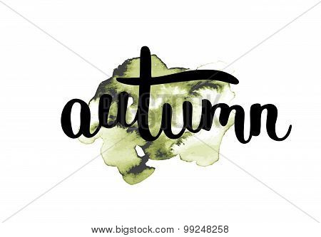 Autumn, ink hand lettering.