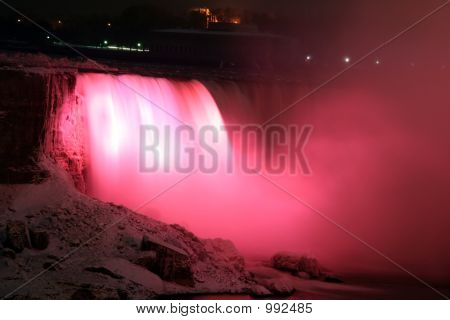 Niagara Horse Shoe Falls At Night