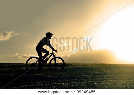Profile Silhouette Sport Man Riding Cross Country Mountain Bike