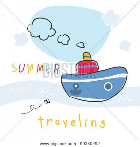 Summer vacation boat travel vector illustration.