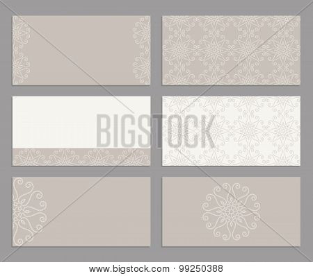 Set of business cards or invitation templates abstract background.