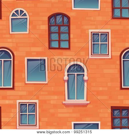 Seamless pattern background of wall with windows. Vector illustration