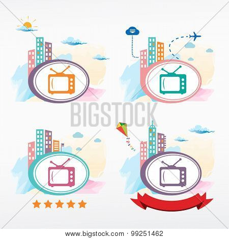 Tv Vector Icon On City Background.