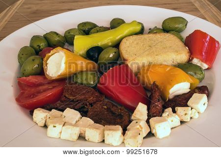 Mixed antipasti on a plate
