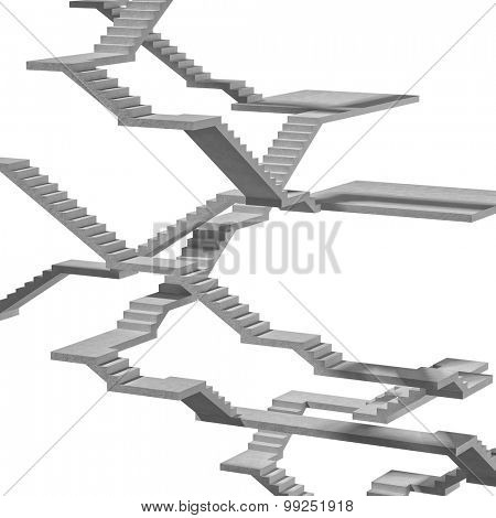 3d image of stair on white background