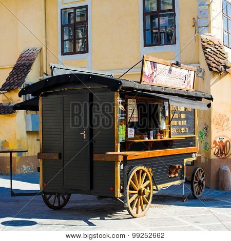 Wooden Wagon For Selling Snacks In Brasov
