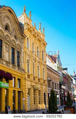 Buildings At Pedestrian Republicii Street  In Downtown Of Brasov, Romania.