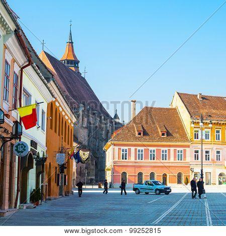 Council Square Piata Sfatului And Black Church In Downtown Of Brasov, Romania