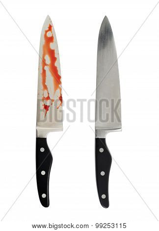 Chef's steel knife with and without blood