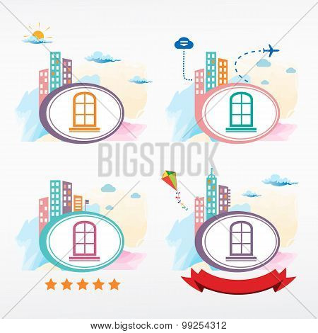 Window Frame Vector Icon City Background.