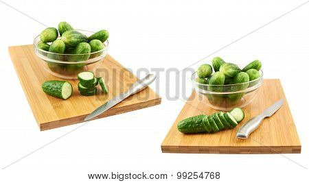 Slicing cucumber over a cutting board