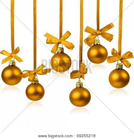 Christmas golden balls with ribbons with space for your text isolated on white