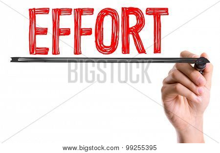 Hand with marker writing the word Effort