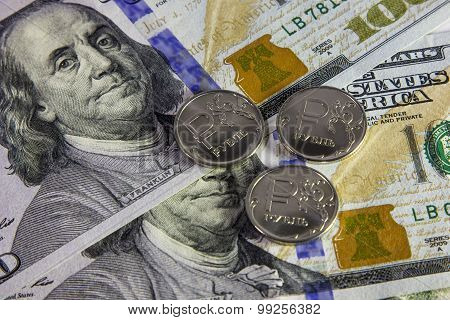 one ruble and 100 dollar banknotes