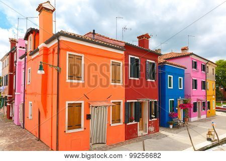 Colorful houses on the Burano, Venice, Italy