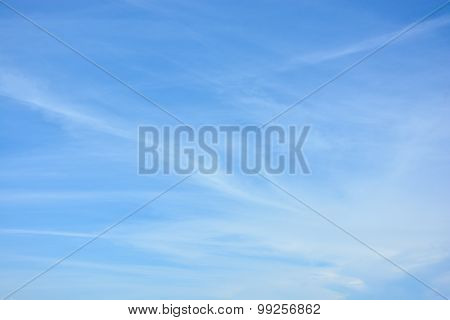 Cirrus Clouds Against The Blue Sky