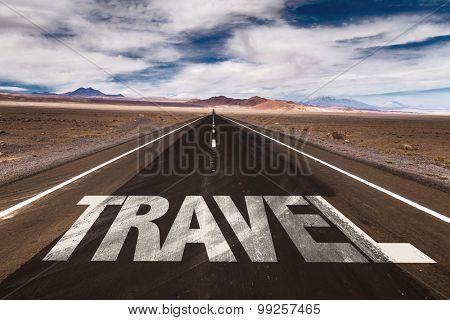 Travel written on desert road