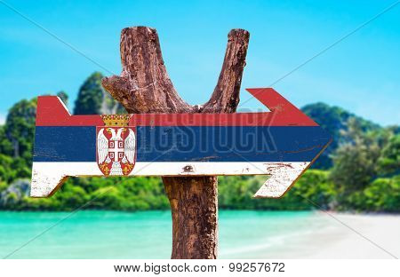 Serbia Flag wooden sign with river background