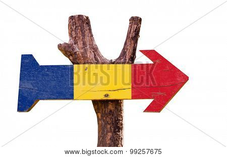 Romania Flag wooden sign isolated on white background