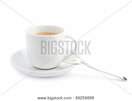 Black coffee in a white ceramic cup