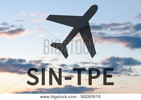 Airplane icon and inscription Sin-Tpe