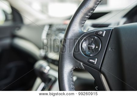 Control Button On The Car Steering Wheel