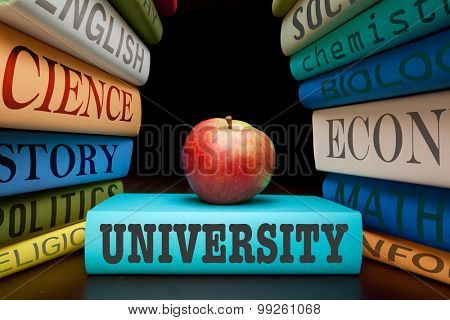 university education study books with text learning building knowledge with healthy apple