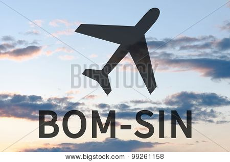 Airplane icon & inscription Bom-Sin
