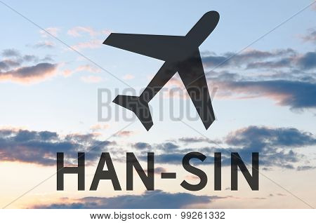 Airplane icon and inscription Sin-Han