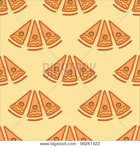 Seamless vector background with slices of pizza