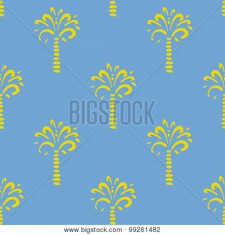 Vector seamless pattern with palm on blue background.