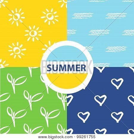 Set seamless pattern. Vector summer background