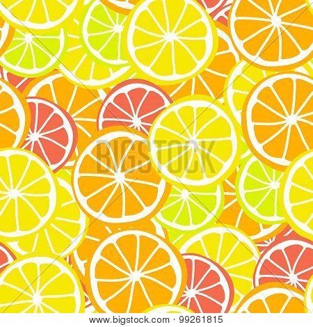 Background seamless pattern red green orange citrus fruit