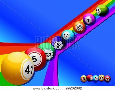 Bingo Balls Rolling Down A Curved Rainbow