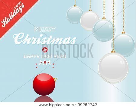 Christmas Bauble Blue And White Background With Text And Red Corner