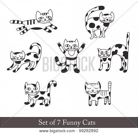Set of Funny Cats for Decoration.