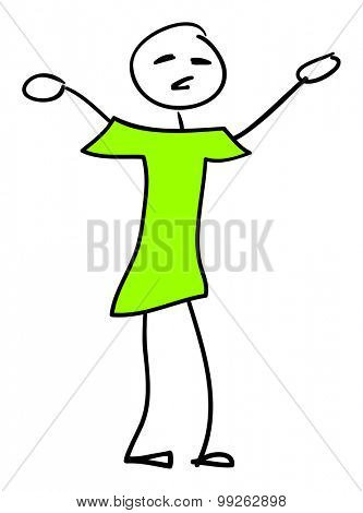 An image of a very simple stick man with a green shirt