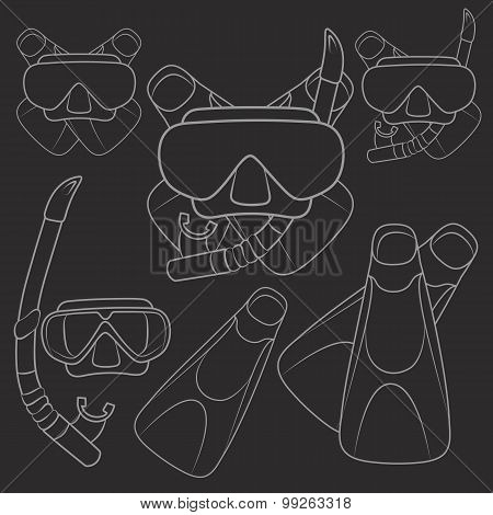 Set of vector illustrations with flippers, mask and snorkel.