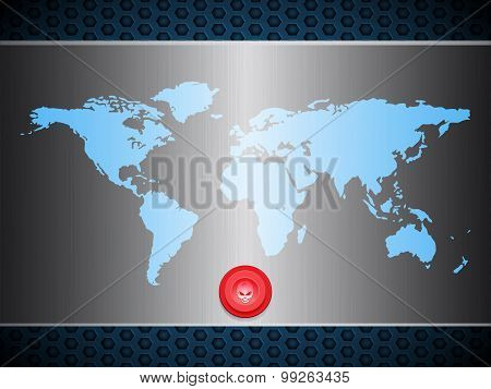 World Map Over Metallic Silver Plate With Scary Red Button