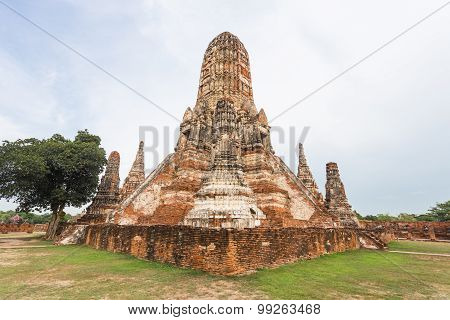 Public Ancient Temple In Ayuthaya, Thailand