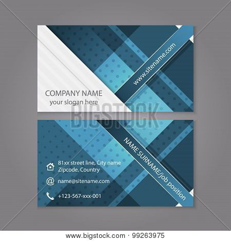 Business card template design in blue