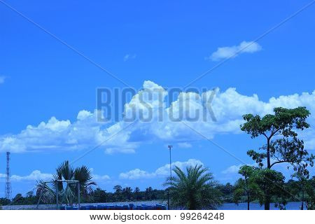 Reservoir With Water And Clouds Are Beautiful