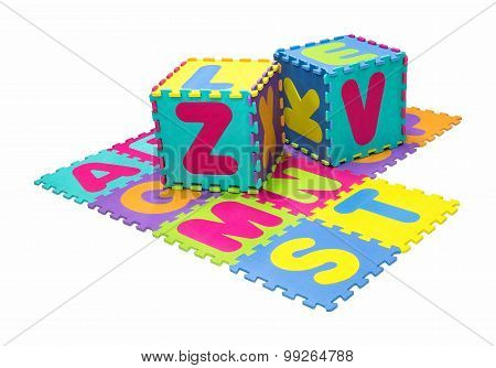 Alphabet Puzzle Isolated On White Background